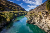 Old gold mining area of Ripponvale by the  Kawarau River in New Zealand