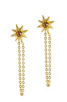 Golden earrings star shaped isolated on a white background