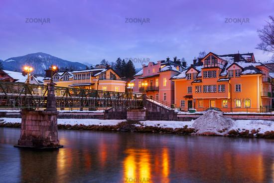 Spa resort Bad Ischl Austria at sunset
