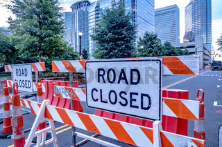 road closed barricade in a city