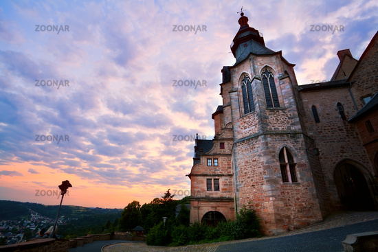 castle in Marburg at sunset