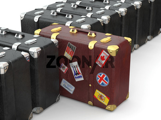 Choose travel. Many suitcases on white isolated background. 3d