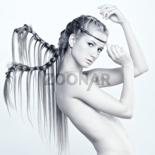 Woman with plaits