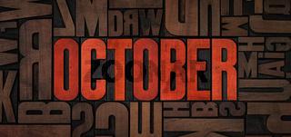 Retro letterpress wood type printing blocks - October