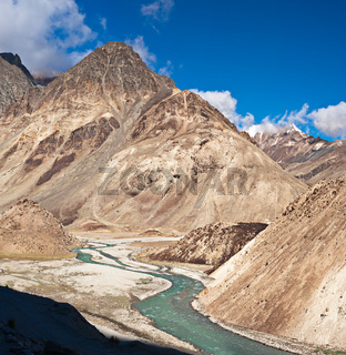 Himalaya high mountain landscape with river