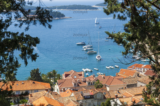 Overlooking the bay with yachts in Hvar