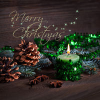 merry christmas card with candle