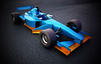 Generic Formula 1 racing car isolated on black background. 3D illustration