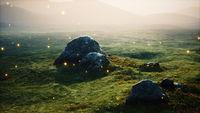big stones in grass field