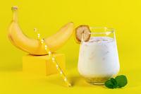 Banana drink with oatmeal milk.