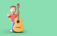 Young Kid 3D Cartoon Character with a Classical Guitar on Green with Copy Space