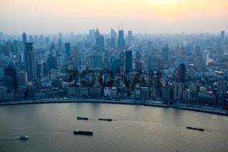 aerial view of shanghai bund at sunset