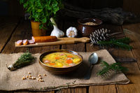 Classic pea soup with sausage and meat