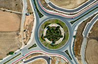 Aerial drone view of a modern designed roundabout. Road transportation Nicosia Cyprus
