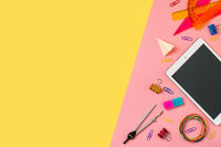Back to school concept on yellow. Copy space