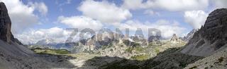 Panorama der Sextener Dolomiten vom Lavaredopass