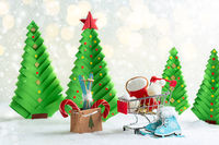 Christmas card with Christmas trees and toys.