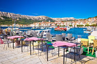 Town of Baska cafe and waterfront view. Island of Krk