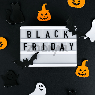 Lightbox with text BLACK FRIDAY, Halloween decorations Sale shopping concept. Template Black friday sale mockup fall thanksgiving promotion advertising. Holiday