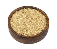 Brown rice isolated on white background, top view