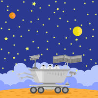 Lunar Rover Icon Isolated on Cosmic Background. Robotic Space Vehicle for Investigation,Study, Research, Survey