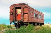 Antique rail car on a siding