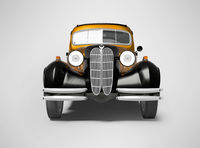 3d rendering of retro orange car on gray background with shadow