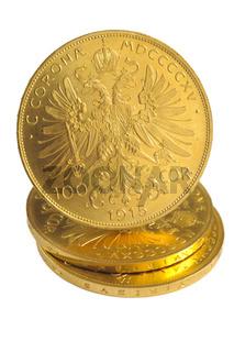 Goldmünzen isoliert