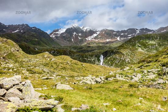 Beautiful view towards the Botzer mountain peak, Timmelsjoch, Tyrol, Italy