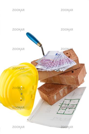 House construction, financing, building society savings. Bricks and Euro