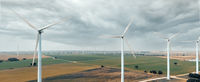 Drone point of view turbines of windmills. Spain