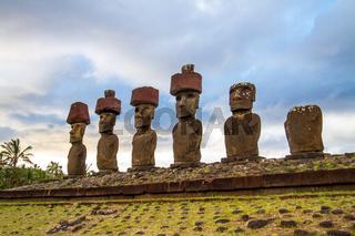 Moai at Ahu Tongariki, Easter island, Chile.