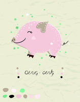 Poster with cute mini pig in pastel colors. Vector illustration.