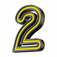 Yellow black outlined font Number 2 TWO 3D