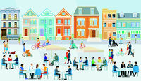 City with pedestrians and families in free time, car-free zone, illustration