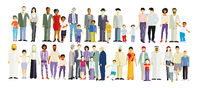 Large group of different families, isolated - illustration