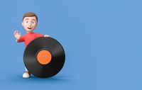 Young Kid 3D Cartoon Character Leaning on a Vinyl Record on Blue with Copy Space