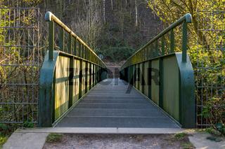 Footbridge over the Schwarzbach in Gelsenkirchen, North Rhine-Westphalia, Germany