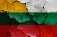 flags of Lithuania and Bulgaria painted on cracked wall