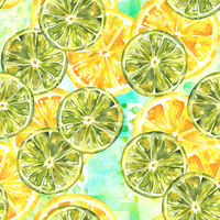 A seamless pattern with watercolour lemons and limes on a teal patchwork texture