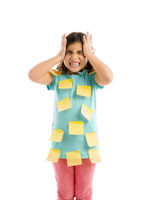 Girl with yellow notes