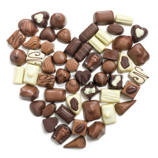 chocolate pralines heart