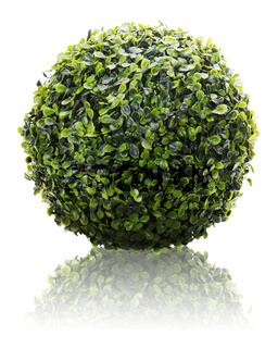 Green sphere from artificial grass with reflection isolated on white background.