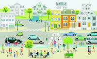 Small town with houses and traffic, pedestrians in the suburb - illustration