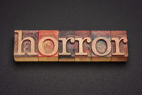 horror word abstract in vintage letterpress wood type
