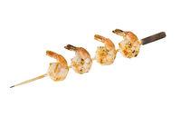 Grilled shrimp skewer on white background