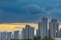 new residential buildings against a dusk sky