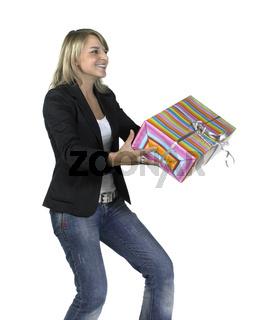 cute girl delivering or recieving a present