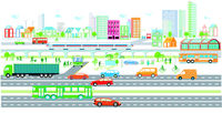 Ecological city with electric vehicles and passenger train, illustration