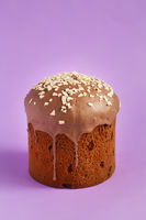 Easter Cake - Russian and Ukrainian Traditional Kulich on a bright lilac purple background. Paska Easter Bread. Happy easter. Kulich cake symbol of Traditional Orthodox Easter